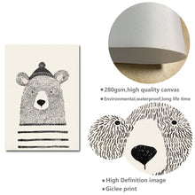 Load image into Gallery viewer, Nordic Art Bear Fox Canvas Poster Painting Cartoon Animal Wall Picture Print Children Baby Room Decoration - SallyHomey Life's Beautiful
