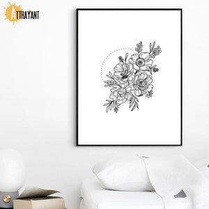 Black And White Flower Wall Art Canvas Painting Nordic Posters And Prints Wall Pictures For Living Room Scandinavian Home Decor - SallyHomey Life's Beautiful