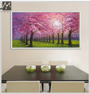 Cheap modern paintings handmade beautiful oil painting landscape pink cherry blossom tree painting wall pictures for kitchen - SallyHomey Life's Beautiful