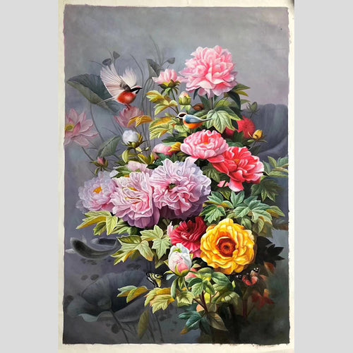 100% Hand Painted Realistic Peony Flower Oil Painting On Canvas Wall Art Frameless Picture Decoration For Live Room Home Decor
