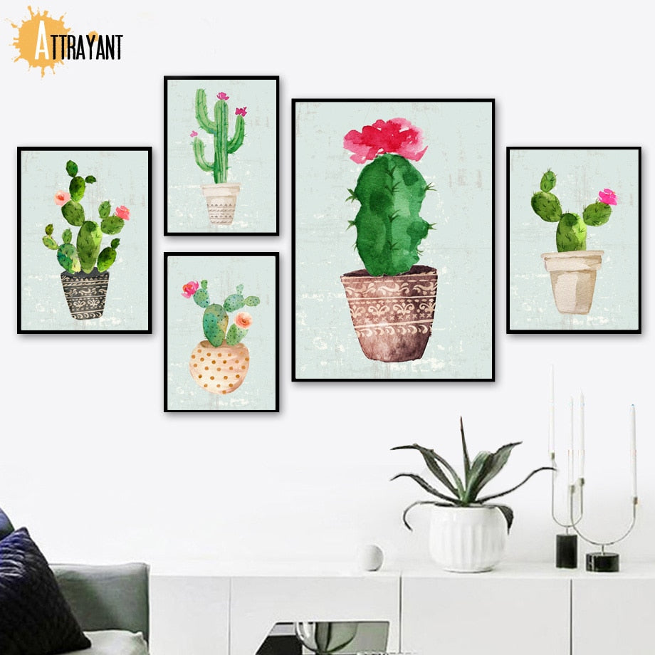 Plants Cactus Flower Nursery Wall Art Canvas Painting Nordic Posters And Prints Wall Pictures For Living Room Bed Room Decor - SallyHomey Life's Beautiful