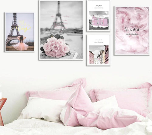 Eiffel Tower Girl Wall Art Canvas Fashion Poster Pink City Landscape Print Painting Nordic Decoration Picture Living Room Decor - SallyHomey Life's Beautiful