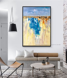 Oil Painting on canvas original Abstract Art Modern yellow blue vertical acrylic Painting Canvas Art Living Room Art pictures - SallyHomey Life's Beautiful
