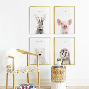 Modern Nordic Minimalist Wall Art Poster Cute Animals Pop Art Paintings Prints On Canvas for Kids Bedroom Children's Day Gifts - SallyHomey Life's Beautiful
