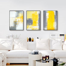 Load image into Gallery viewer, 3 piece canvas painting abstract oil painting handmade yellow grey wall art canvas wall pictures for living room home decor - SallyHomey Life's Beautiful