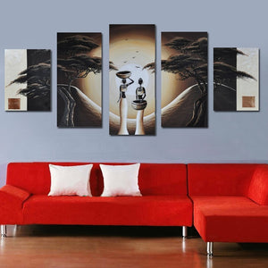 Modern Sexy African Figures Tree Moon On the Wall for Bedroom Decoration Pictures Abstract African Art Landscape Oil Paintings - SallyHomey Life's Beautiful