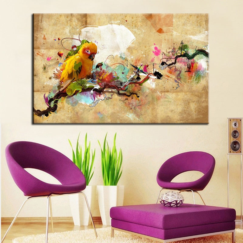 Modern Abstract ColorfuL Parrot Bird Oil Canvas Painting on Canvas Print Poster Wall Picture for Living Room Home Decor Gift - SallyHomey Life's Beautiful