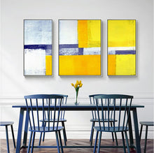 Load image into Gallery viewer, Decorative canvas painting 3 piece canvas wall art wall pictures for living room yellow blue grey abstract painting acrylic art - SallyHomey Life's Beautiful