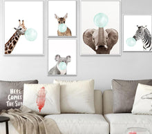 Load image into Gallery viewer, Baby Animal Zebra Girafe Canvas Poster Nursery Wall Art Print Painting Nordic Picture Children Bedroom Decoration - SallyHomey Life's Beautiful