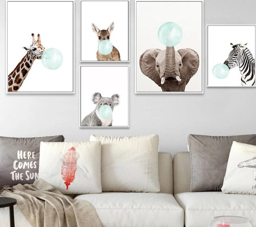 Baby Animal Zebra Girafe Canvas Poster Nursery Wall Art Print Painting Nordic Picture Children Bedroom Decoration - SallyHomey Life's Beautiful