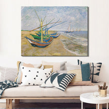 Load image into Gallery viewer, Fishing Boats on the Beach at Les by Van Gogh Poster Print on Canvas Wall Art Canvas Abstract Decorative Painting for Home Room - SallyHomey Life's Beautiful