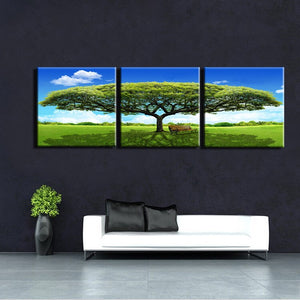 3Pcs Modern Paintings Prints On Canvas Wall Art Printed Green Tree Landscape Poster for Living Room Wall Home Decor No Frame - SallyHomey Life's Beautiful