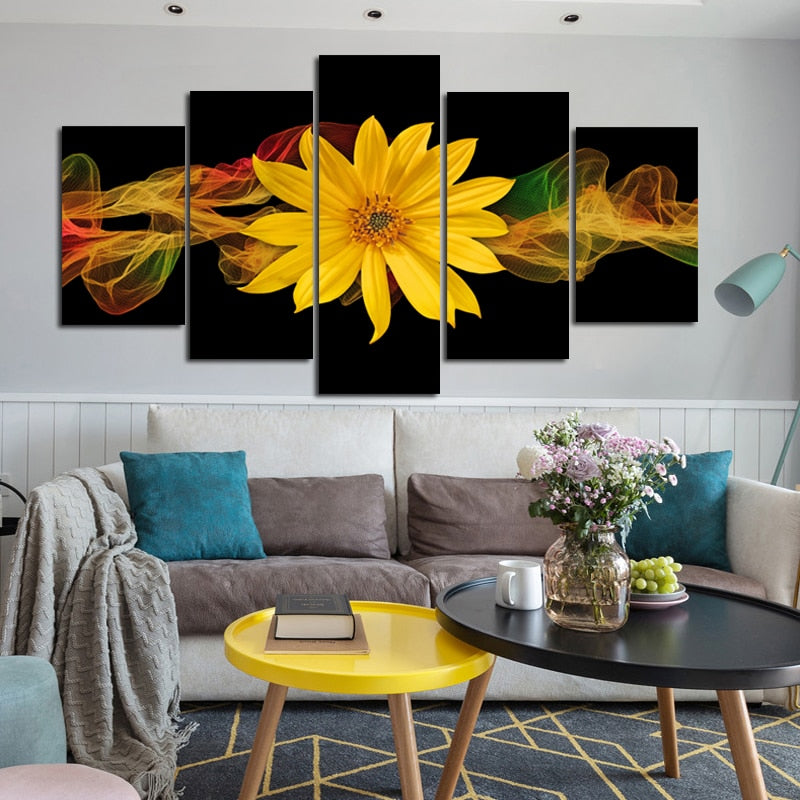 🔥 Modern Abstract Posters and Prints Wall Art Canvas Painting 5pcs Abstract Yellow Flower Decorative Picture for Living Room Decor - SallyHomey Life's Beautiful
