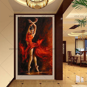 100% Hand Painted  Ballet Dancer Oil Painting on Canvas High Quality Dance Room Figure Paintings for Home Decor