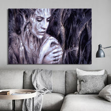Load image into Gallery viewer, Modern Posters and Prints Wall Art Canvas Painting Wood Carving Women Portrait Decorative Painting for Living Room Home Decor - SallyHomey Life's Beautiful