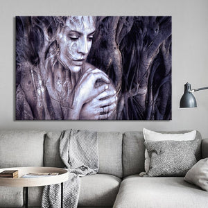 Modern Posters and Prints Wall Art Canvas Painting Wood Carving Women Portrait Decorative Painting for Living Room Home Decor - SallyHomey Life's Beautiful
