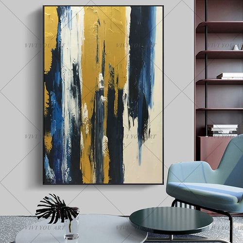 New Drawing 100% Handmade Abstract Gold Painting Landscape Wall Art Picture For Living RoomIsolate Golden Abstract Pictures