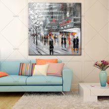 Load image into Gallery viewer, handpainted street building for chrismas gift handmade Canvas oil Painting - SallyHomey Life's Beautiful