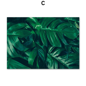Tropical Monstera Green Leaves Quotes Wall Art Canvas Painting Nordic Posters And Prints Wall Pictures For Living Room Decor - SallyHomey Life's Beautiful