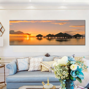 Modern Seascape and Pavilions Posters Wall Art Pictures - SallyHomey Life's Beautiful