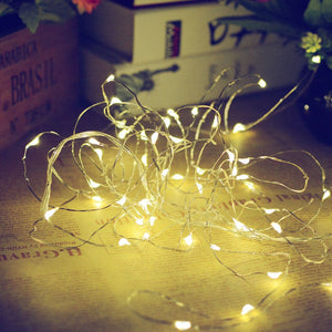 Solar Powered Copper Wire LED String Lights 200 LED Starry Rope Lights Home Party Christmas Indoor Outdoor Lighting Decoration (Warm White 2 Pieces 0-5W) - SallyHomey Life's Beautiful