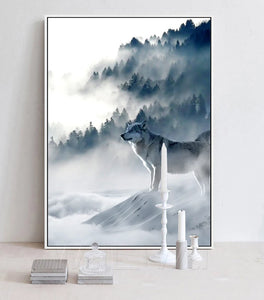 Nordic Art Wolf Snow Mountains Art Canvas Poster Minimalist Print Nature Picture Modern Home Room Decoration - SallyHomey Life's Beautiful