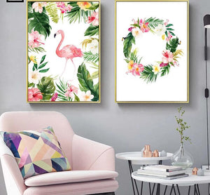 Watercolor Flowers Flamingo Nordic Art Canvas Posters and Prints Landscape Painting Wall Picture for Living Room Home Decor 002 - SallyHomey Life's Beautiful