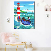 Load image into Gallery viewer, Hand Drawing Oil Painting Lighthouse Guides the Ship in the Sea - SallyHomey Life's Beautiful
