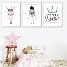 Load image into Gallery viewer, Watercolor Cartoon Girl Motivational Quotes Posters and Prints Wall Art Canvas Painting Nordic Style Picture for Living Room - SallyHomey Life's Beautiful