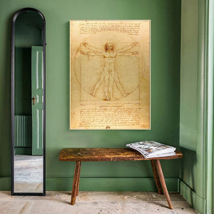 Classical Famous Painting Vitruvian Man, Study of Proportions by Leonardo da Vinci, Poster Prints Wall Art Canvas Painting Decor - SallyHomey Life's Beautiful