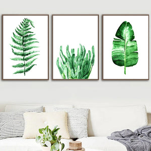Banana Leaf Maple Ferns Green Leaf Wall Art Canvas Painting Nordic Posters And Prints Plants Wall Pictures For Living Room Decor - SallyHomey Life's Beautiful