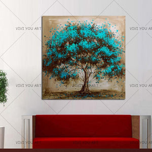 Hand Painted Modern Blue Tree Decoration Oil Painting On Canvas Handmade Landscape Wall Art Home Decor Painting Hang Pictures