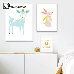 Baby Nursery Wall Art Canvas Posters Prints Cartoon Deer Rabbit Painting Nordic Kids Decoration Picture Children Bedroom Decor - SallyHomey Life's Beautiful