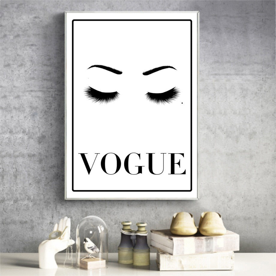 Girl Eye Eyebrow Black White Wall Art Canvas Painting Nordic Posters And Prints Wall Pictures For Living Room Bed Room Decor - SallyHomey Life's Beautiful