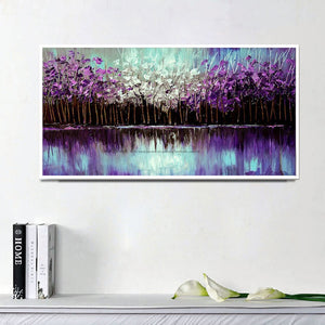 100% handmade large canvas wall art Modern abstract art acrylic knife painting oil painting purple for living room wall - SallyHomey Life's Beautiful