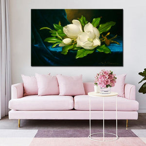 Martin Johnson Heade Giant Magnolias on a Blue Velvet Cloth Posters Print on Canvas Wall Art Decorative Pictures for Living Room - SallyHomey Life's Beautiful
