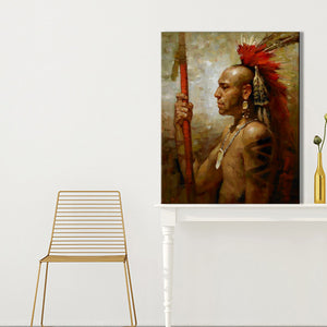 Abstract Native Indian Feathered Portrait Posters and Prints Wall Art Canvas Painting Decorative Pictures for Living Room Decor - SallyHomey Life's Beautiful