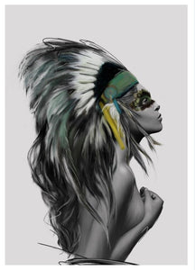Modern Portrait Poster And Print Wall Art Canvas Painting Noble Indian Feather Art Wall Pictures For Living Room Home Decoration - SallyHomey Life's Beautiful