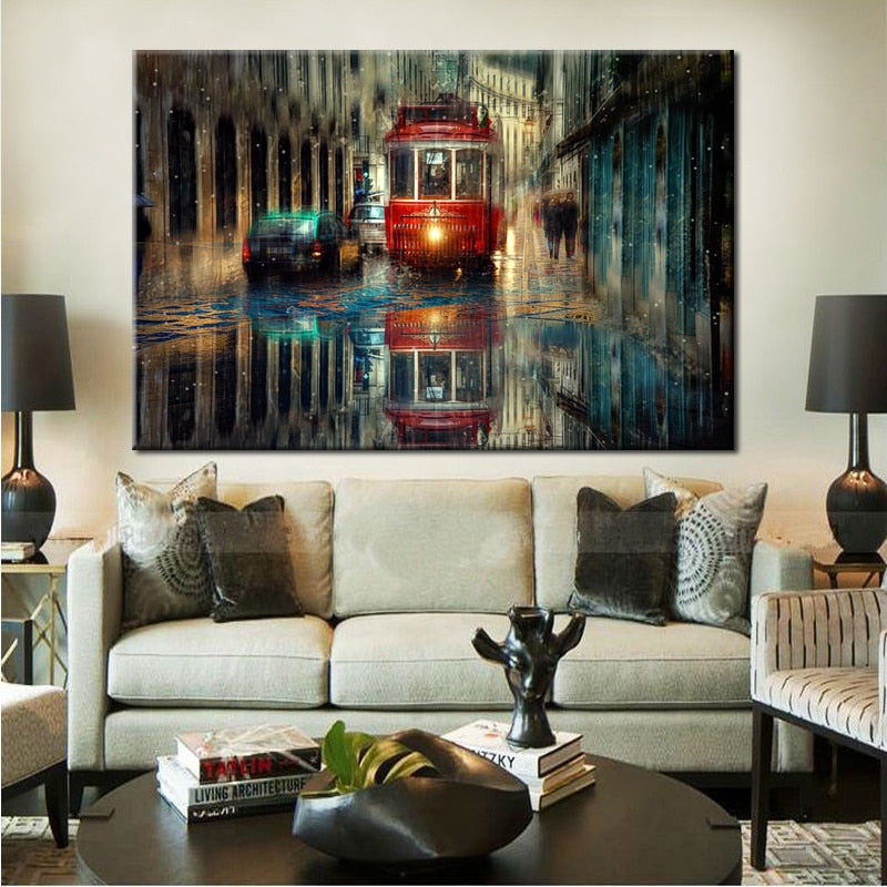 70X100cm - Abstract Retro Tram City Street Oil Painting Prints on Canvas - SallyHomey Life's Beautiful