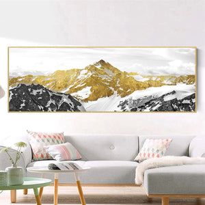Abstract Golden Mountain Oil Painting For Living Room Home Decor - SallyHomey Life's Beautiful