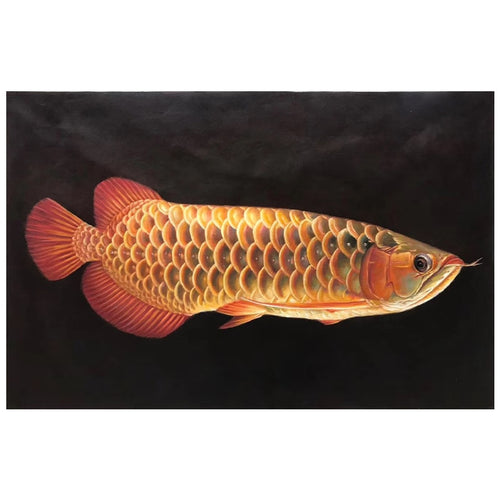 100% Hand painted Golden realistic arowana Art oil Painting On Canvas Wall Art Wall Pictures Painting For Live Room Home Decor