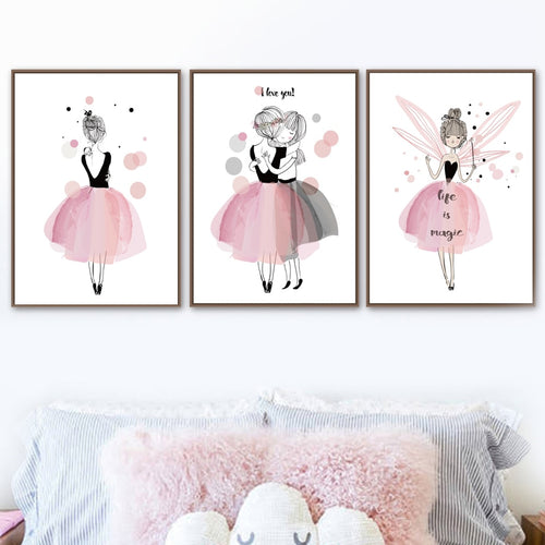 Pink Girl Fairy Quotes Nursery Wall Art Print Canvas Painting Nordic Posters And Prints Wall Pictures For Girls Kids Room Decor - SallyHomey Life's Beautiful