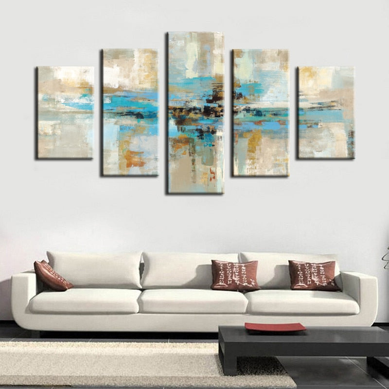 5pcs Canvas Prints Wall Art - Turquoise Modern Abstract Canvas Wall Art Prints On Canvas For Living Room Home Decor No Frame - SallyHomey Life's Beautiful