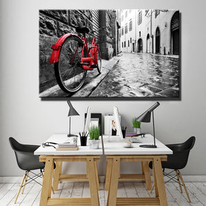 Urban or Rural Landscape Painting Digital Printed Painting Canvas Art A Red Bike In The Street Canvas Painting Home Decor Gift - SallyHomey Life's Beautiful