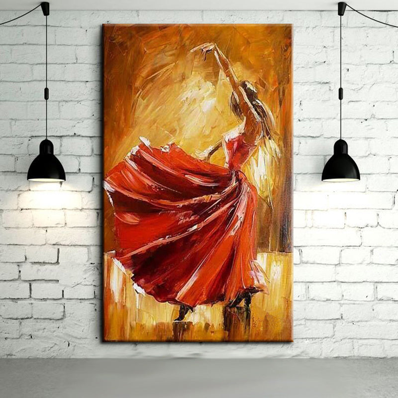 Free Shipping Hand-painted Spanish Flamenco Dancer Oil Painting On Canvas Spain Dancer Dancing With Red Dress Oil Paintings - SallyHomey Life's Beautiful