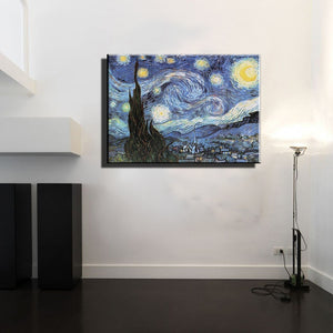 famous artist Starry night reproduction van gogh oil painting wall art picture modern abstract canvas paintings in living room - SallyHomey Life's Beautiful