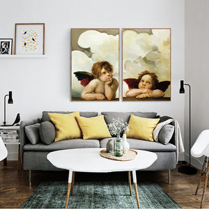 Modern Portrait Cherub Posters and Prints Wall Art Canvas Painting Wall Decoration Lovely Angel Pictures for Bedroom Frameless - SallyHomey Life's Beautiful