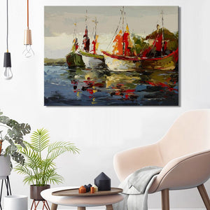 Modern Abstract Seascape Posters and Prints Wall Art Canvas Painting Sea Boat Decorative Pictures for Living Room Home Decor - SallyHomey Life's Beautiful
