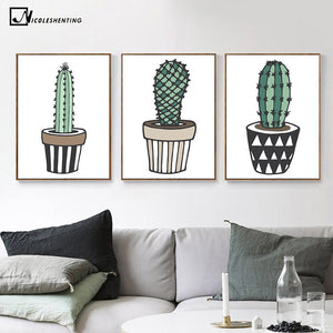 Nordic Art Plant Cactus Canvas Poster Painting Modern Nursery A4 Wall Picture Children Kids Room Decoration Home Decoration - SallyHomey Life's Beautiful