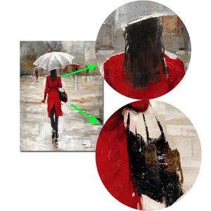 Modern Abstract Portrait Posters and Prints Wall Art Canvas Painting The Umbrella Girl Decorative Pictures for Living Room Decor - SallyHomey Life's Beautiful